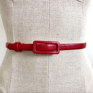 Vintage Snake Skin Textured Red Thin Belt Size S